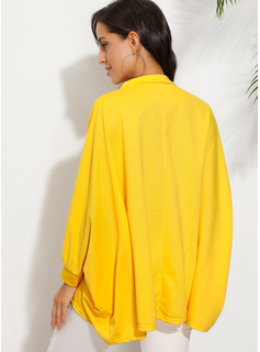 Einfarbig Lange Ärmel Polyester V-Ausschnitt T-shirt Blusen