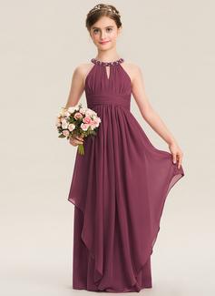 A-Linie U-Ausschnitt Bodenlang Chiffon Kleid für junge Brautjungfern mit Rüschen Perlstickerei