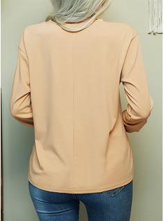 Impresión Cuello Redondo Manga Larga Casual camiseta