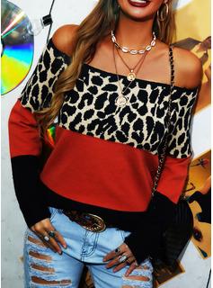 Fuori dalla spalla Casuale leopardo Blocchi di colore Maglioni