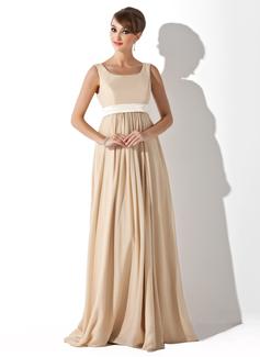 Empire-Linie Rechteckiger Ausschnitt Bodenlang Chiffon Brautjungfernkleid Für Schwangere mit Schleifenbänder/Stoffgürtel