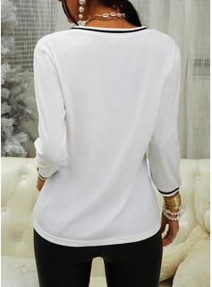 Print V-Neck 1/2 Sleeves Casual T-shirt