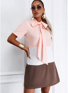 Color Block Bowknot Shift Short Sleeves Mini Casual Tunic Dresses