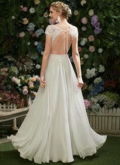 A-linje Illusion Gulvlængde Brudekjole med Blonder pailletter