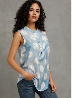 Impresión Sin mangas poliéster Escote en V Blusas