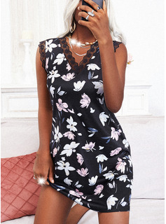 Floral Lace Print Sheath Sleeveless Mini Casual Dresses