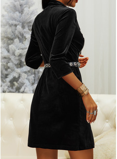 Solid Sheath 3/4 Sleeves Mini Little Black Casual Dresses