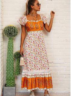 フローラル 印刷 シフトドレス 半袖 マキシ 生きます カジュアル 休暇 ファッションドレス
