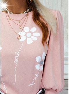 Figura Floral Impresión Cuello Redondo Manga Larga Mangas Abullonadas Con Botones Casual Blusas