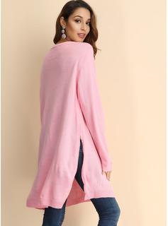 Over Knee rund hals Polyester syning Lange ærmer Mode kjoler