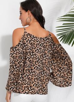 Leopard Lange ærmer Flare-ærmer Polyester Kolde skulder Bluser