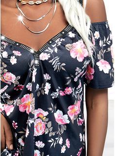 Floral Print Sequins Cold Shoulder Short Sleeves Casual Blouses