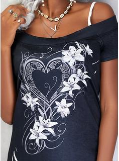 Floral Impresión Corazón Top Con Hombros Manga Corta Casual Blusas