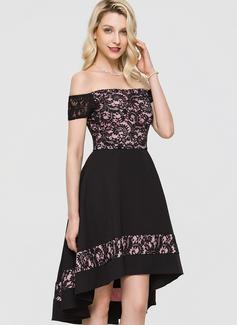 A-Line Off-the-Shoulder Asymmetrical Stretch Crepe Cocktail Dress