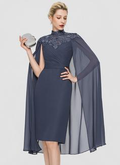 Sheath/Column High Neck Knee-Length Chiffon Cocktail Dress With Ruffle