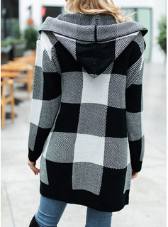 Hooded Casual Long Color Block Pocket Sweaters