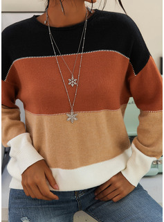 Round Neck Casual Color Block Sweaters