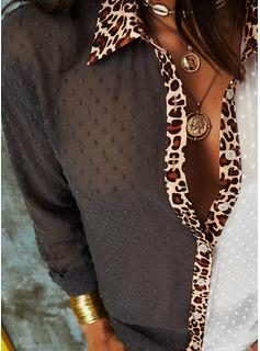 Leopard Polkaprik Lapel Lange ærmer Button-up Casual Shirt Skjorter