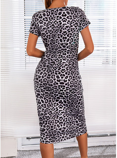 Leopardo Cubierta Manga Corta Midi Casual Vestidos de moda
