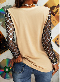 Sequins Solid Round Neck Long Sleeves Casual Blouses