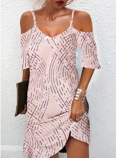 Print Shift 1/2 Sleeves Mini Elegant Dresses