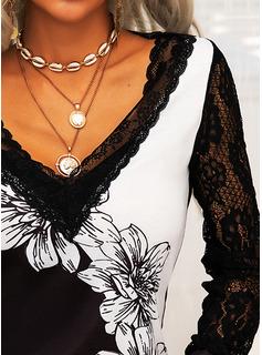 Floral Lace Print V-Neck Long Sleeves Elegant Blouses