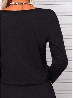 Solido A trapezio 3/4 maniche Mini Casuale Vestiti di moda