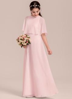 A-Line/Princess Scoop Neck Floor-Length Chiffon Junior Bridesmaid Dress