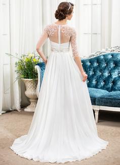 A-Line/Princess Scoop Neck Sweep Train Chiffon Wedding Dress With Ruffle Beading Sequins