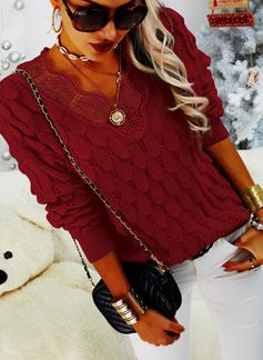 V-Ausschnitt Lässige Kleidung Spitze Einfarbig Pullover