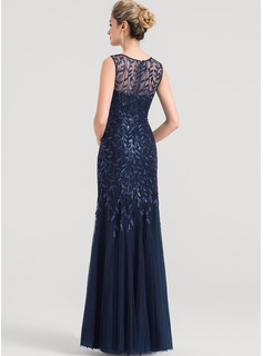 Sheath/Column V-neck Floor-Length Tulle Evening Dress With Sequins