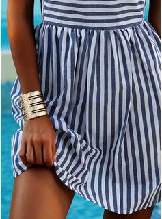 Stribe Skiftekjoler Korte ærmer Mini Casual T-shirt Mode kjoler
