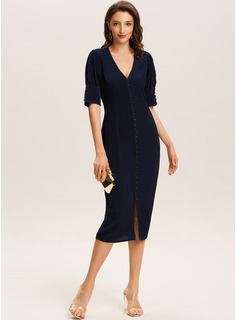 Midi V neck Polyester Solid Short Sleeves/Puff Sleeves Fashion Dresses