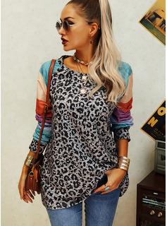 Leopardo Trozos de color Cuello Redondo Manga Larga Casual Blusas