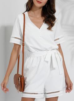 Solid A-linjeklänning Korta ärmar Fritids rompers Modeklänningar