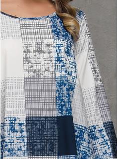 Carouri Shift Elbiseleri Mâneci Lungi Midi gündelik Tunică Moda Elbiseler
