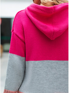 Hooded Casual Color Block Chunky knit Pocket Sweaters