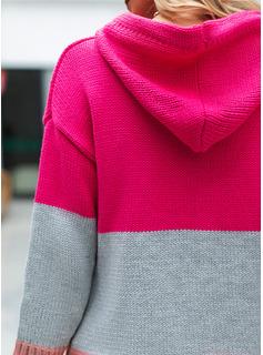 Mit Kapuze Lässige Kleidung Farbblock Grobstrick Taschen Pullover