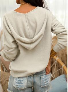 フード付き カジュアル 固体 セーター
