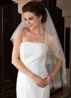 2 couches Bord de coupe Voile de mariée longueur bout des doigts avec Brodé/De faux pearl