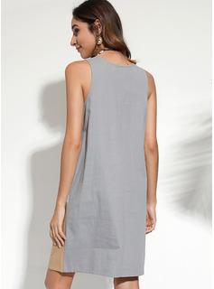 knælange rund hals Bomuld Farve-blok Uden Ærmer Mode kjoler