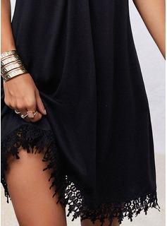 Skiftekjoler Korte ærmer Midi Casual Tunika Mode kjoler