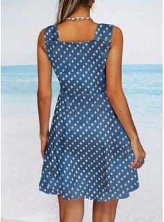 Impresión Vestido línea A Sin mangas Mini Casual Patinador Vestidos de moda