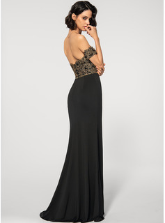 Sheath/Column Off-the-Shoulder Floor-Length Jersey Evening Dress With Beading Sequins