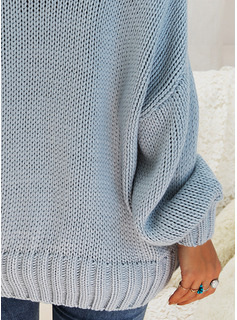 Round Neck Casual Solid Chunky knit Sweaters