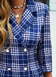 Plaid Sheath 3/4 Sleeves Mini Casual Elegant Dresses