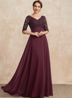 С завышенной талией V-образный Длина до пола шифон Платье Для Матери Невесты с развальцовка