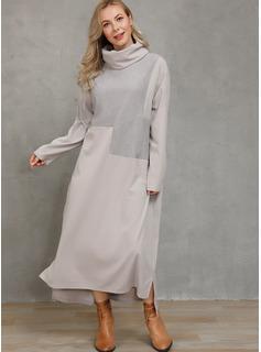 Maksimum Cowl Neck Polyester Solid Lange ærmer Mode kjoler