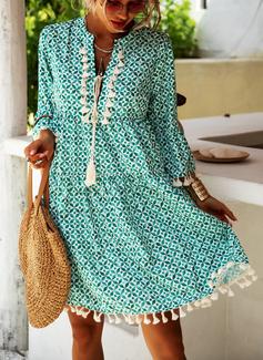 Imprimeu Shift Elbiseleri Măneci Trei Sferturi Mânecă Evazate Mini Boho gündelik Tatil Moda Elbiseler