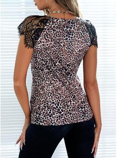 Leopard V-Neck Short Sleeves Casual